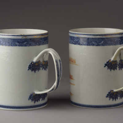 Pair of oversize mugs, handle view