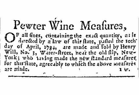 Advertisement. From Loudon's New-York Packet, August 3, 1786.